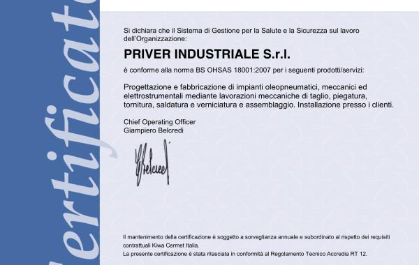 Certificato ISO 18001
